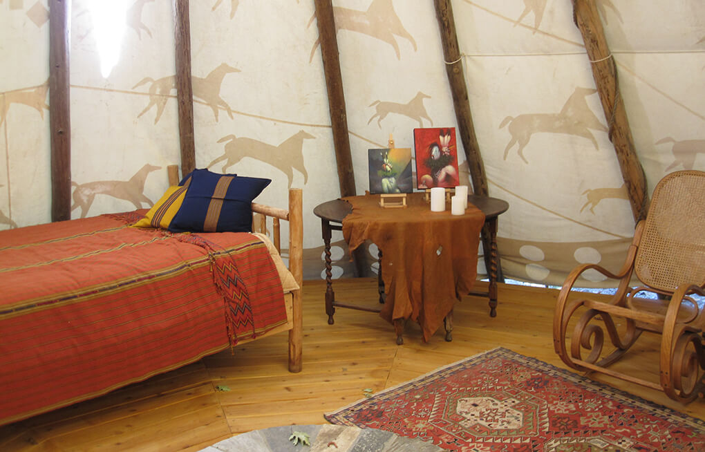 Photo of the interior of a Tepee by a Nevada City Architect