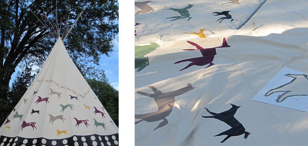 Photo of the horse paintings on a Tepee by a Nevada City Architect